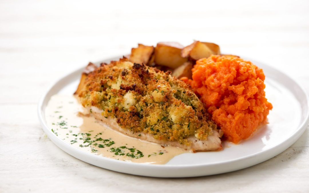 Goat Cheese-Crusted Chicken With Carrot Mash and Crispy Potatoes